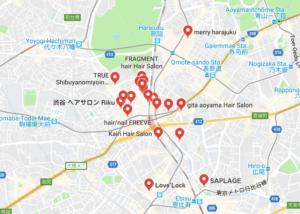 渋谷の美容室のマップ検索